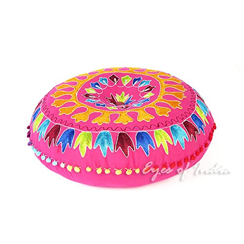 Best Price! Eyes of India - 24 Colorful Embroidered Round Floor Seating Meditation Pillow Cover Cus...