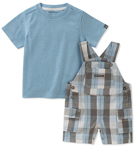 Calvin Klein Baby Boys 2 Pieces Shortall, Blue/Gray, 6-9 Months