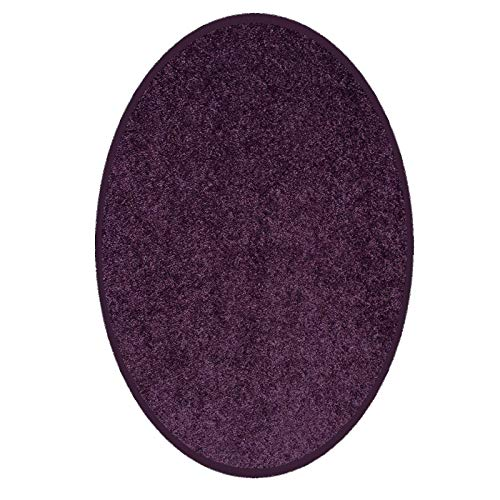 Ambiant Pet Friendly Solid Color Area Rug Purple -3 x5 Oval