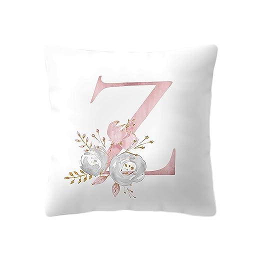 Qinlee - Funda de cojín con Letras y Flores, para sofá ...