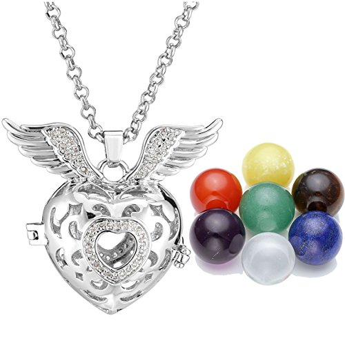 Top Plaza Women's Fashion Silver Tone Rhinestones Zirconia Hollow Openable Locket Pendant Necklace W/16MM 7 Chakra Reiki Healing Crystal Balls(Heart Shape)
