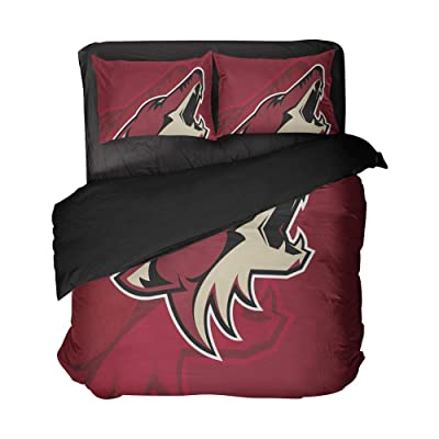 Magaport Arizona Hockey Bedding 3D Printed Wolf Bed Set Sportsmen Flat Sheets Boy's Bedspread Queen 3pcs Cover: Home & Kitchen