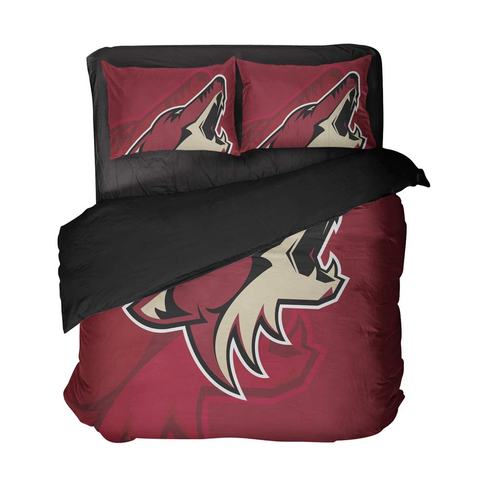 Magaport 3PCS Arizona Hockey Bedding 3D Printed Wolf Bed Twin Set Sportsmen Flat Sheets Boy's Bedspread Cover