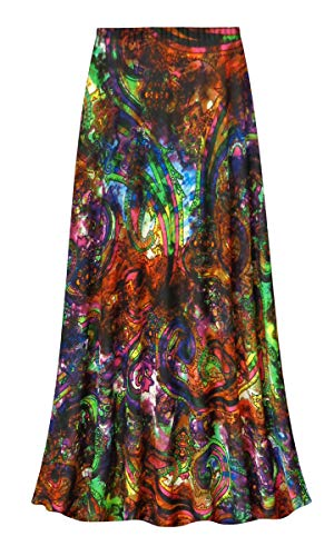 Paisley Slinky Print Plus Size A-Line Skirt 4X