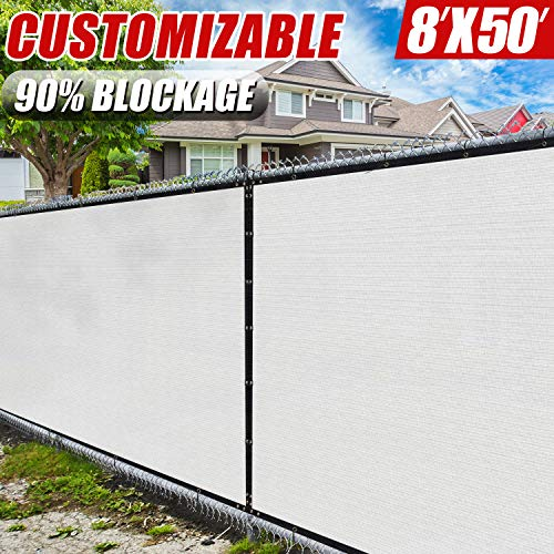 (Amgo 8' x 50' White Fence Privacy Screen Windscreen,with Bindings & Grommets, Heavy Duty for Commercial and Residential, 90% Blockage, Cable Zip Ties Included, (Available for Custom Sizes))
