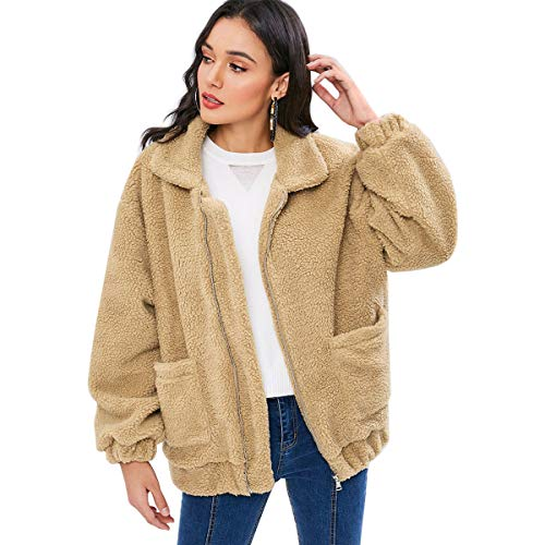 (Jean Products Women's Coat Fashion Lapel Zip Up Faux Fluffy Shearling Shaggy Outwear Warm Winter Coat Jacket with Pockets (L, Camel)