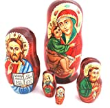 Authentic Russian Hand Painted Handmade Religious Nesting Doll of 5 Pcs Artist Signed Matryoshkas 5'' Church Icons