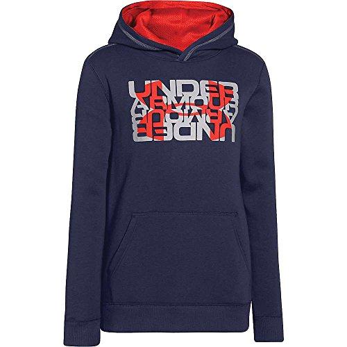 (Under Armour Boys' Rival Cotton Logo X2 Hoody Blue Knight / Glacier Gray / Bolt Orange XL)