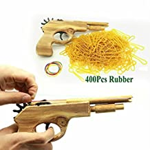 Smarty Handmade Wood Toys Classical Elastic Band Shooter Pistol Gun Unlimited Bullets Rubber Launcher with 400Pcs Rubber Bands