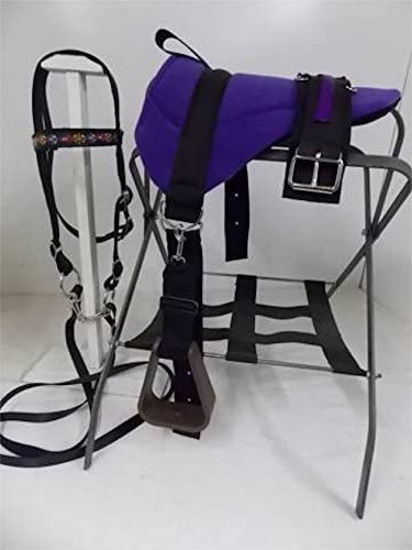 MINIATURE HORSE TURQUOISE BLK INDIAN NATIVE SM PONY BAREBACK SADDLE PAD SET