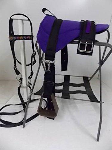 (Party Ponies Miniature Horse/SM Pony Bareback Saddle Set - Native Star Blue, with Felt Cinch)