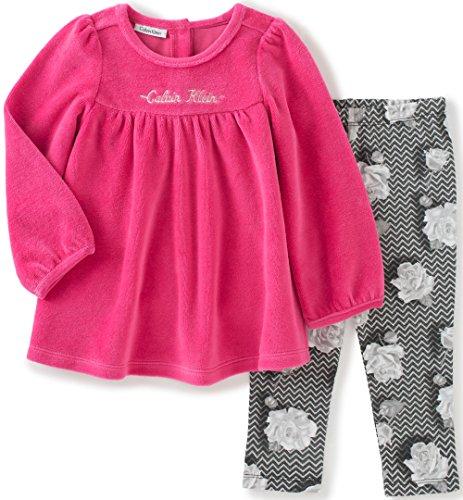 Calvin Klein Baby Velour 2 Piece Tunic/Leggings Set, Pink, 6/9 Months