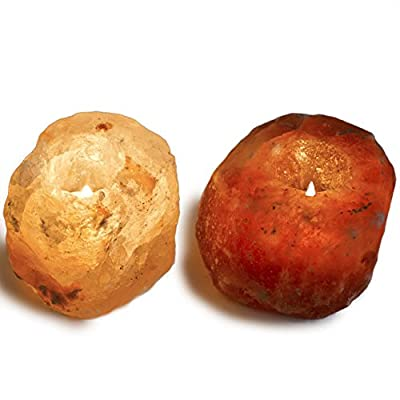 Hypnotic Gems Gallery: Pack of 2 Premium Quality Himalayan Salt Candle Holder - Natural Air Purifying Hand Carved Tealight Salt Lamp - Completely Natural Ionic Air Purifier