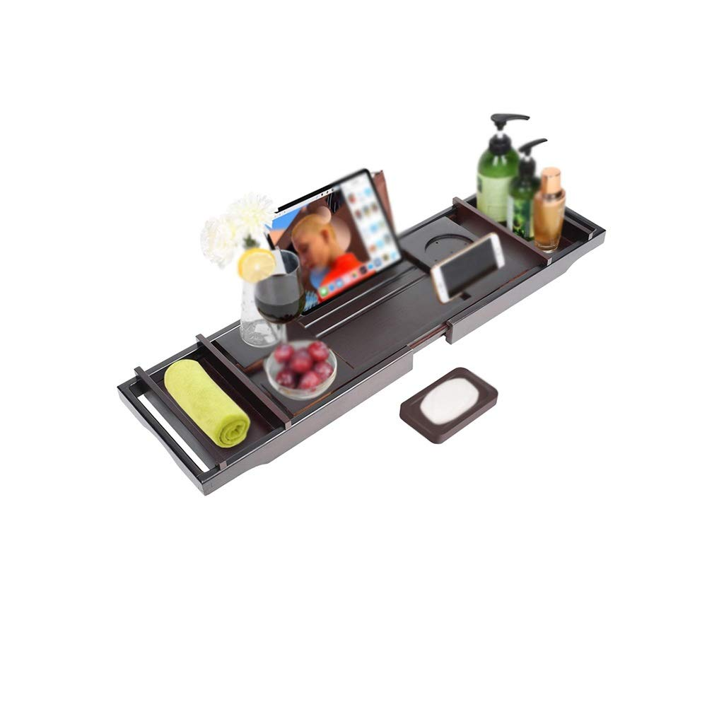 XSJZ Bathtub Rack, Retractable Non-Slip Solid Wood Black Bath Storage Board Suitable for Home Hotel