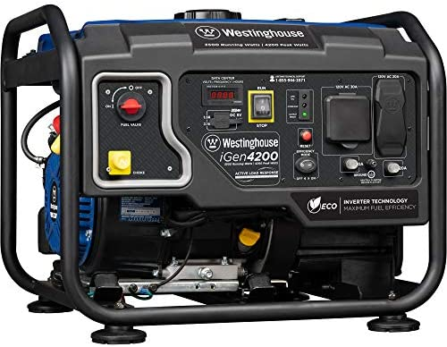 Westinghouse iGen4200 Hybrid Open Frame Inverter Generator – 3500 Rated Watts 4200 Peak Watts – Gas Powered – RV Ready Outlet