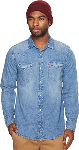(Levi's Men's Denim Long Sleeve Western Shirt Blue XX-Large)