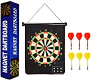 Magnetic Dart Board,XOOLOVER Dartboard Set Roll-up Double Sided Dartboard Game Toy + 6 Safety Darts + Darts Gu