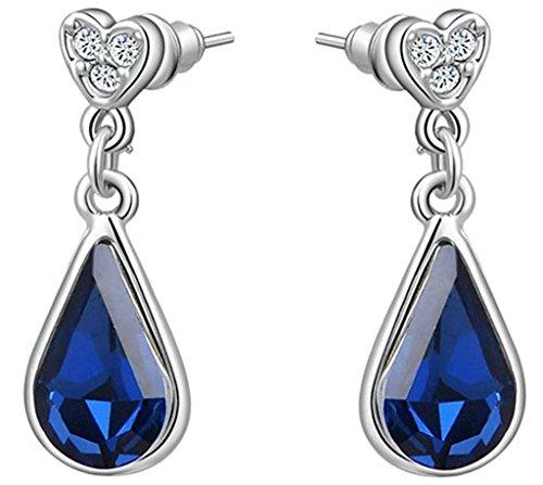 Womens Stud Earrings 18k Gold Plated White Gold Austrian Crystal CZ Deep by Aienid (Deep Blue Sapphire Diamond)