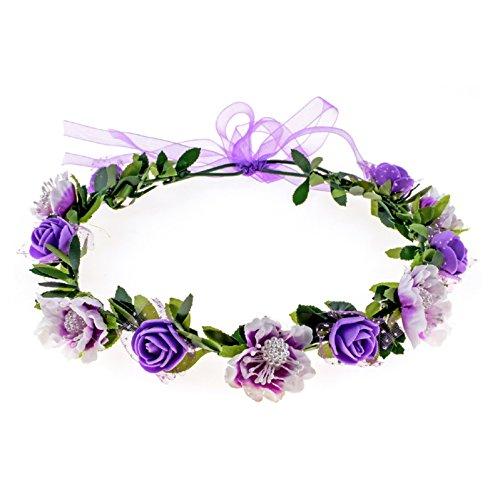 Love Sweety Girls Boho Rose Floral Crown Wreath Wedding Flower Headband Headpiece (Purple)