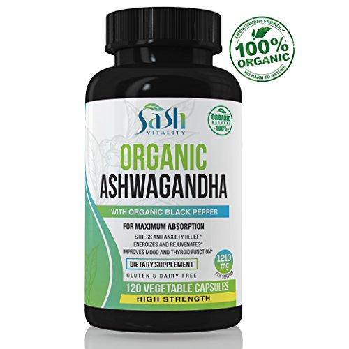 Sash Organic Ashwagandha High Strength 1200mg Root Powder – 120 Vegetarian Capsules – Ashwaganda Supplement Certified Organic – Black Pepper Extract (Piperine) for Maximum Absorption