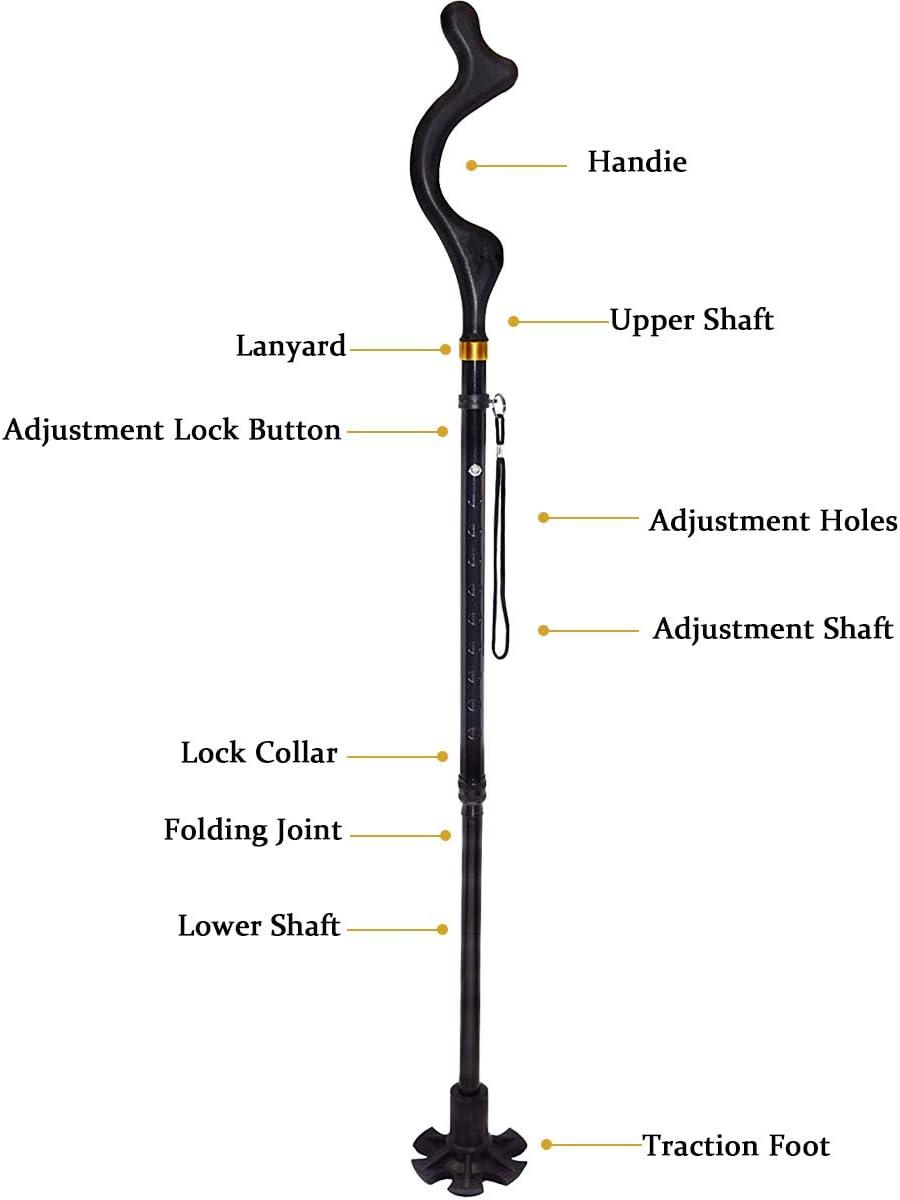 YiGooood 10 Height Adjustment Posture Cane Collapsible Hand Walking Stick Walking Cane for Men Women