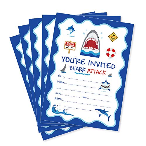 CC HOME Shark Attack Invitation CardsShark Birthday Party Invitations With Envelopes 20 CountBaby Decorations