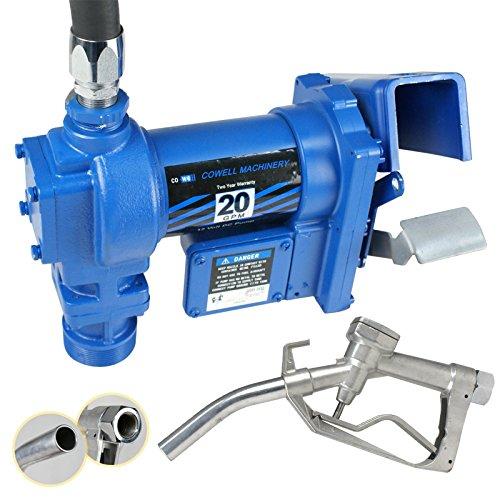 F2C 12 Volt 20GPM Electric Diesel Kerosene Gasoline Fuel Transfer Pump Fillrite Manual Nozzle Hose Kit … Blue by F2C (Image #2)