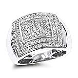 Luxurman 10K Diamond Ring for Men (White Gold Size 9)