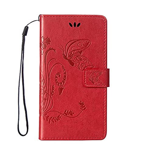 L90 Case, LG Optimus L90 Case, Love Sound [Butterfly Flower/Red] [Wrist Strap] Luxury PU Leather Wallet Case Flip Cover Built-in Card Slots Stand for LG Optimus L90 (T-Mobile) / (Lg D415 Phone Case For Girls)