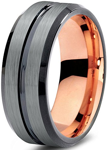 Tungsten Wedding Band Ring 8mm for Men Women Black & 18K Rose Gold Plated Beveled Edge Brushed Polished