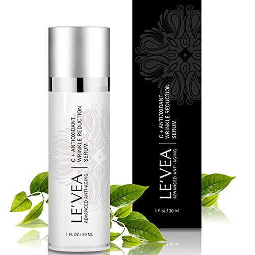 LE'VEA Anti Aging Vitamin C Plus Antioxidant Super Serum Anti-Wrinkle Professional Facial Serum Skin Lightening Hyper-Pigmentation Serum with Hyaluronic Acid Ferulic Acid 1 OZ