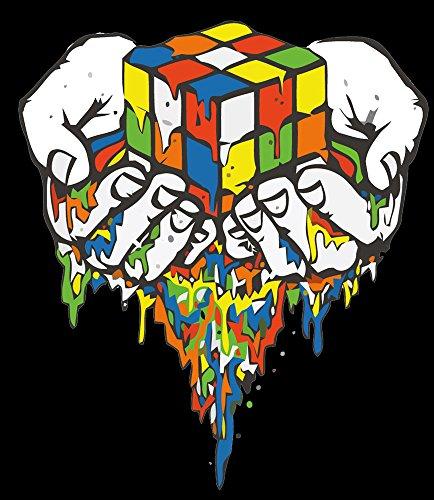 Zauberwürfel Rubik Cube Sheldon Fun schwarze T-Shirt -083