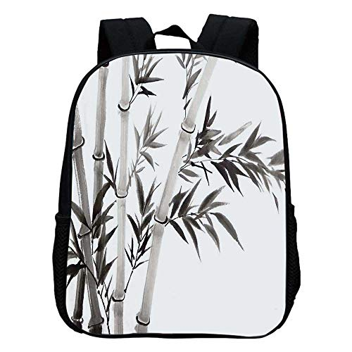 Bamboo House Decor Durable Kindergarten Shoulder Bag,Traditional Bamboo Leaves Meaning Wisdom Growth Renewal Unleash Your Power Artprint For school,11.8
