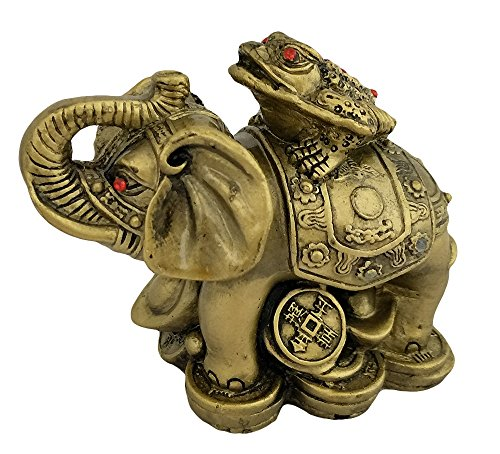 Divya Mantra Feng Shui King Money Toad Three Legged Frog on Trunk up Elephant for Prosperity Financial Business Strength Success Good Luck ()