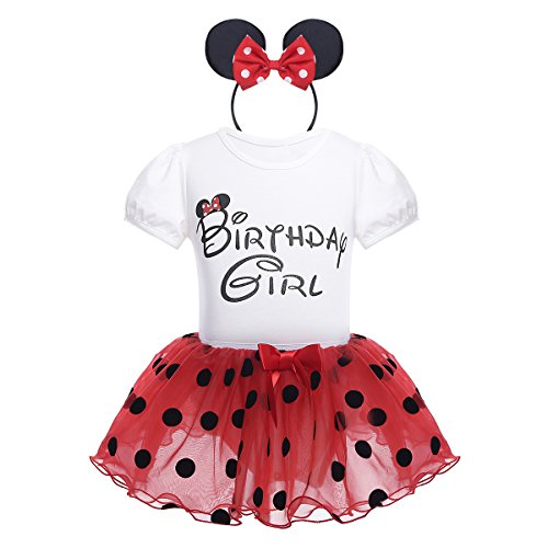 CHICTRY Baby Girls Kids Birthday Party Outfit Cartoon Cosplay Short Sleeve Romper With Tutu Skirt Headband Set Red 18-24 Months
