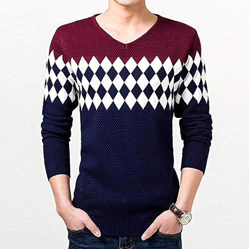 Męska karo sweter z dzianiny okrągły dekolt sweter z długim rękawem bluza Jumper koszula wygodna rozmiary koszulka wiosna jesień długi rękaw gÓrne części topy odzież