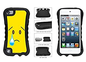 Bright Yellow Sad with Tear Face 2-Piece Dual Layer Phone Case Back Cover Apple iPod Touch 5th Generation by supermalls