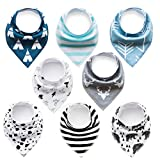 Baby Bandana Drool Bibs,Baby Dribble Bibs with Snaps 8 pack Baby Shower Gift Set for Teething and Drooling,Super Absorbent Cotton,Feeding Bibs For Newborns Boys Girls Infants Toddlers (Bib-BlueWhite)