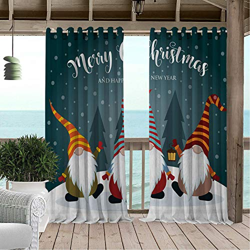 Linhomedecor Outdoor Waterproof Curtain Snow Merry Christmas and Happy New Year Typography Bearded Gnomes Doodle Characters Multicolor pergola Grommets Cabana Curtain 108 by 108 inch