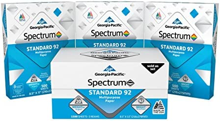 Georgia-Pacific Spectrum Standard 92 Multipurpose Paper, 8.5 x 11 Inches, 1 field of three packs (1500 Sheets) (998606)