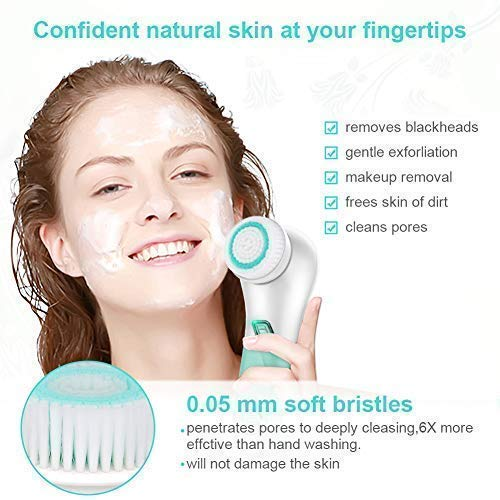 Face Brush with 5 Rotating Brush Heads, Waterproof Electric Face Exfoliating Brush