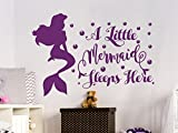 A Little Mermaid Sleeps Here Wall Decal Quote Girls Vinyl Sticker Decals for Girls Home Decor Bedroom Dorm Nursery Baby Kids Interior NV163