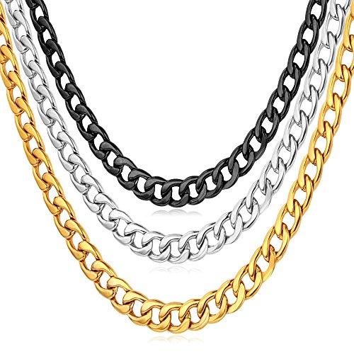 U7 Unisex Hombre Mujer 5 mm de ancho collar de cadena de eslabones collar 50CM