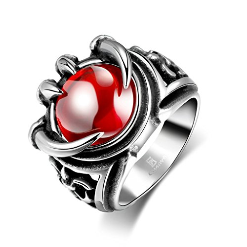 Focus Jewel Men's Dragon Claw with Large Round-cut Red Stone Fleur De Lis Oxidized Silver Biker Punk Ring - Easy Freak Show Costumes