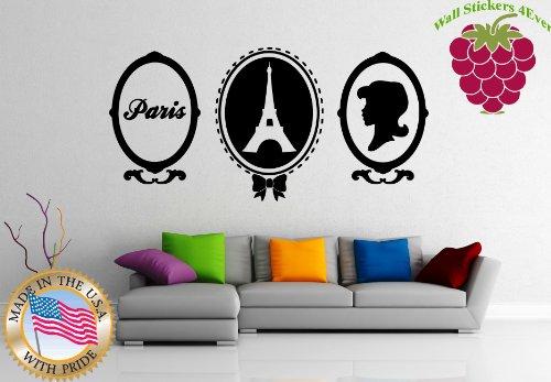 - Wall Stickers Vinyl Decal Paris France Eiffel Tower Portrait Mirror ig941
