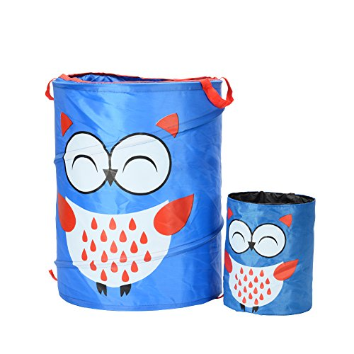Household Pop-up Plastic Collapsible Double Laundry Hamper Come with A Samll Car Hamper, Owl Cartoon (Double Tilt Out Laundry Hamper)