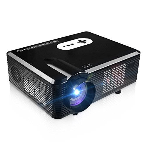 FastFox HD Projector Full Color 720P 3000 Lumens Analog TV Single LCD Panel LED Technology Multimedia Beamer Home Proyector for Theater Tablet Video Movie Bussiness by EZAPOR