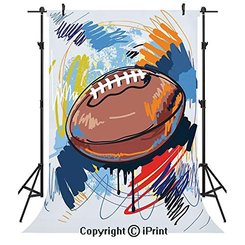Sports Photography Backdrops,Diamond Shape Rugby Ball Sketch with Colorful Doodles Professional Equipment League,Birthday Party Seamless Photo Studio Booth Background Banner 10x20ft,Multicolor