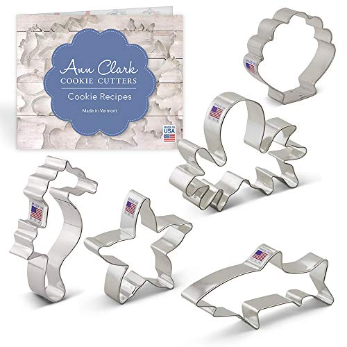 Under the Sea Cookie Cutter Set with Recipe Booklet - 5 piece - Seahorse, Octopus, Sea Shell, Starfish and Shark - Ann Clark - USA Made Steel