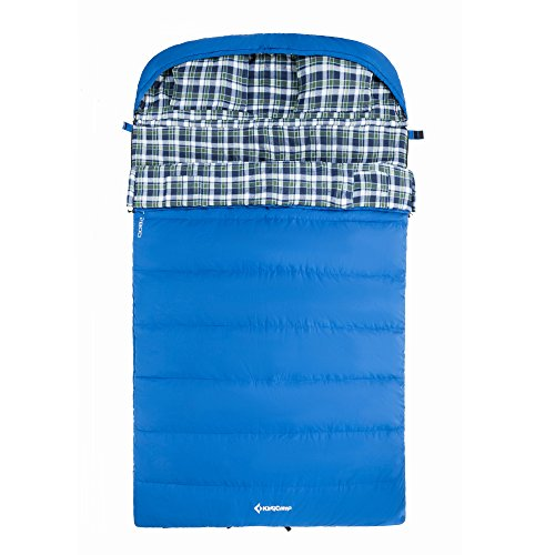 KingCamp Cotton Flannel All Season 5F -15C Sleeping Bag with Pillow Double, Adult, Youth Size